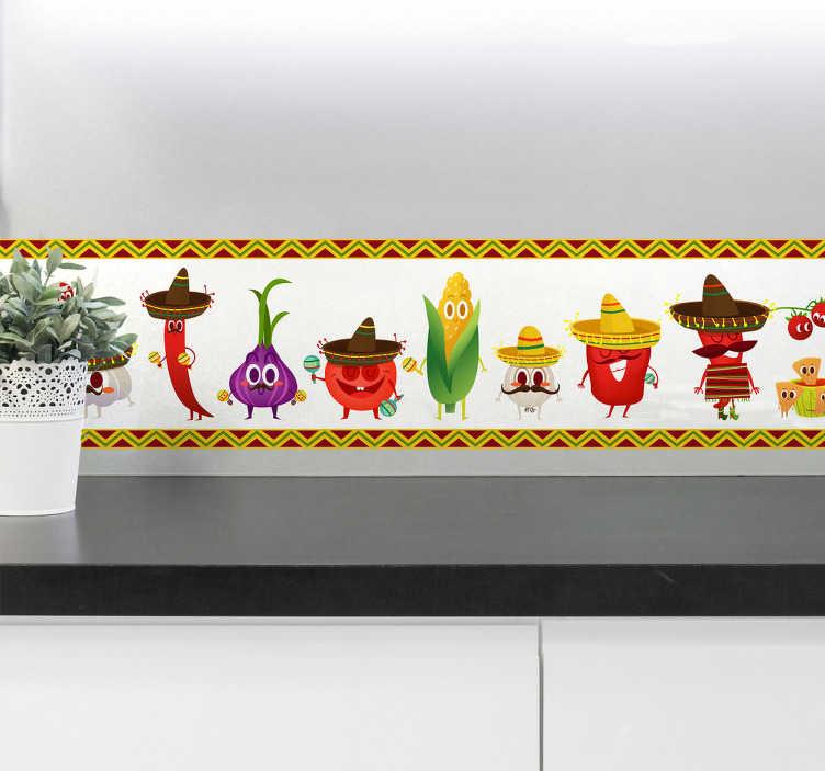 TenVinilo. Cenefa Decorativa frutas mexicanas. Vinil decorativo con diferentes dibujo de comida con trajes típicos mexicanos, cenefa adhesiva para darle color y divertido a tu cocina.
