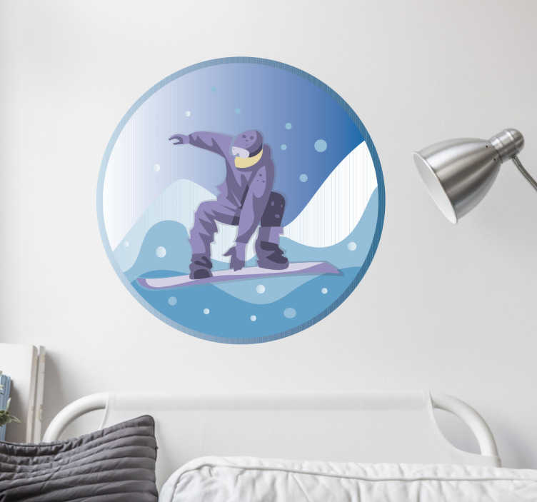 TenStickers. Snowboard in a circle wall decor. How amazing would it be to snowboard every day of the year! With this sports wall decal you can recreate this awesome feeling!