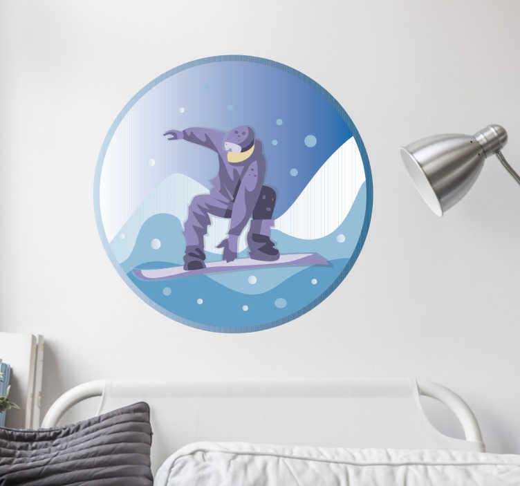 TenStickers. Wandtattoo Snowboarder. Cooles Wandtattoo mit einem Snowboarder in Action. Für alle Sportfans und Schneeurlauber.
