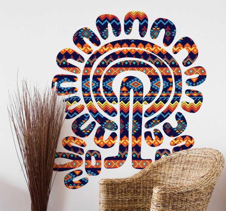 TenStickers. Naklejka ścienna drzewo azteckie. Udekoruj swój pokój tą niesamowitą i kolorową naklejką ścienną. Projekt ma wiele jasnych kolorów, które rozjaśnią twój pokój. Drzewo składa się z kultury azteckiej.