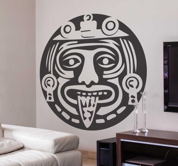 TenVinilo. Vinilo decorativo azteca símbolo. Vinilo mural con una representación de la figura central de la Piedra del Sol azteca, disponible en el tamaño y color que requieras.