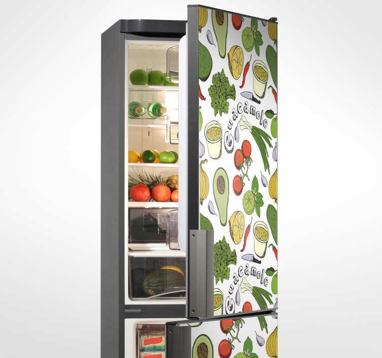 TenStickers. Autocolante para frigorífico com frutas. É um autocolante decorativo para frigorífico para sua cozinha, dando assim uma nova vida ao seu prestigioso frigorífico.