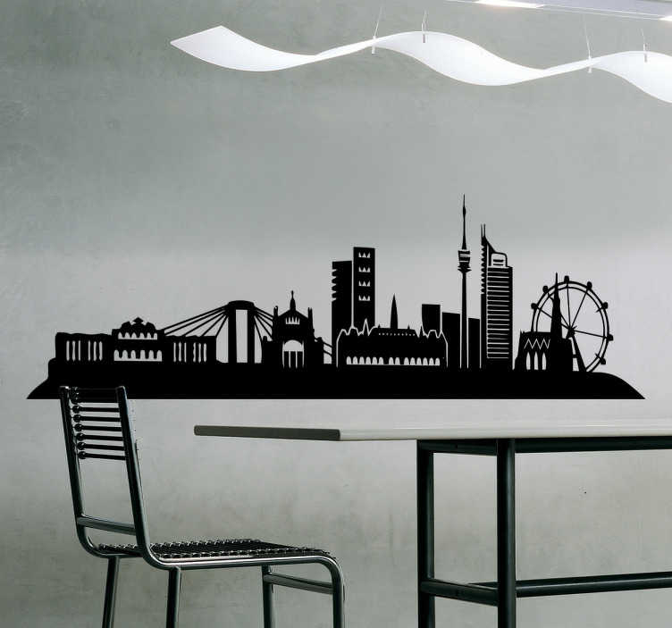 TenStickers. Vienna sights city skyline silhouette wall decal. Vienna sights skyline silhouette decal decoration for any flat space of choice. It is customisable in size and we have it in different colours option.