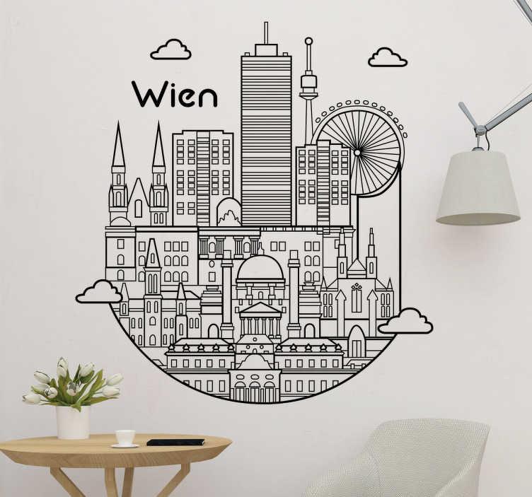 TenStickers. Wandtattoo Wien Skyline. Schönes Wandtattoo mit der Skyline von Wien, als tolle Dekorationsidee für das Wohnzimmer. Verleihen Sie Ihrem Zuhause einen besonderen Look!