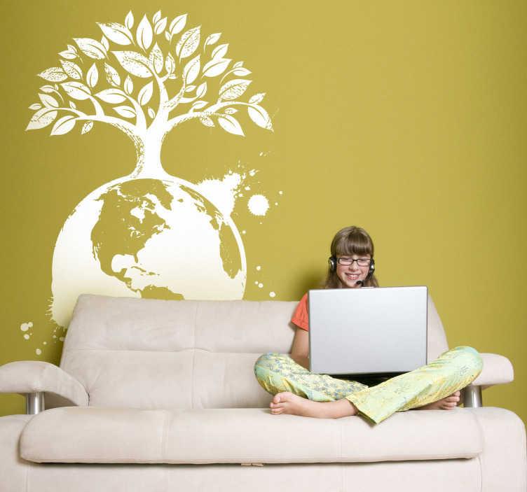 TenVinilo. Vinilo decorativo globo terrestre y árbol. Decora la habitación de tu hijo con éste vinilo, una manera juvenil y educativa de solidarizarse con la deforestación del planeta.