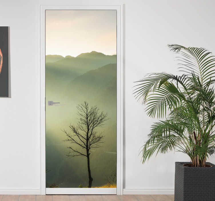 TenStickers. For nature glass door sticker. Decorative door vinyl mural sticker with the design of a natural plant in real and original look. It is available in any needed dimension.