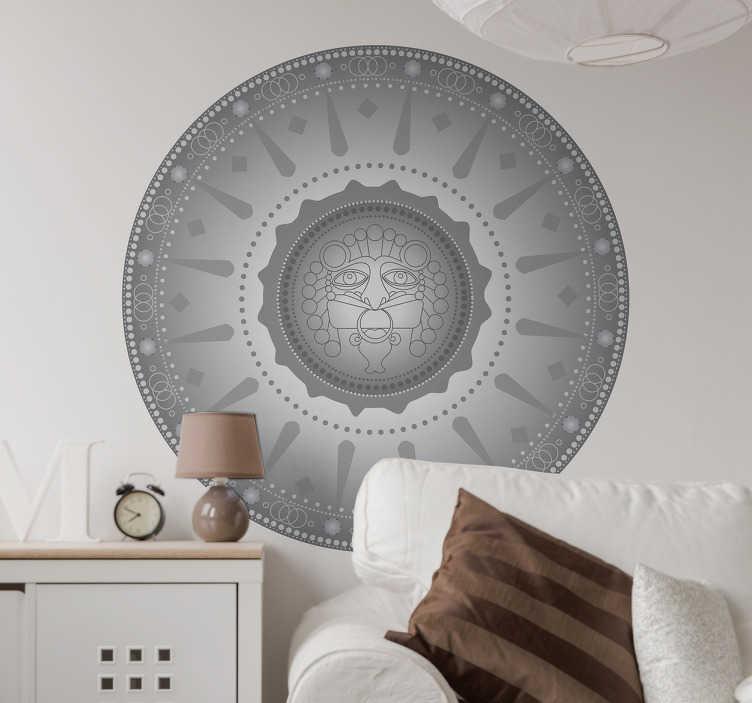 TenVinilo. Vinil decorativo mándala azteca. Vinil mural con una representación de la Piedra del Sol Azteca, vinilos México para decorar tu dormitorio o el salón.