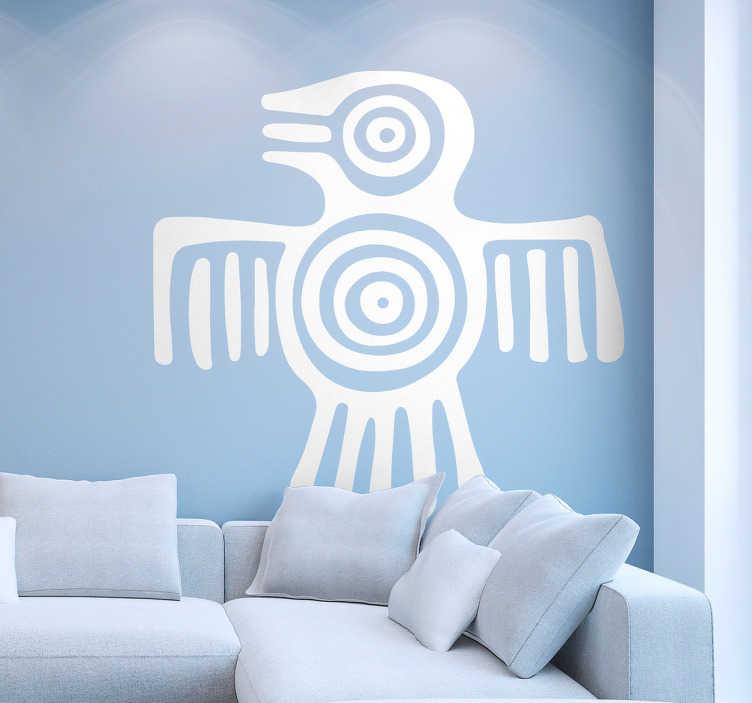 TenVinilo. Vinilo decorativo símbolo maya. Adhesivo con la representación iconográfica de un antiguo dibujo mexicano de un colibrí, una manera diferente y original con la que decorar.