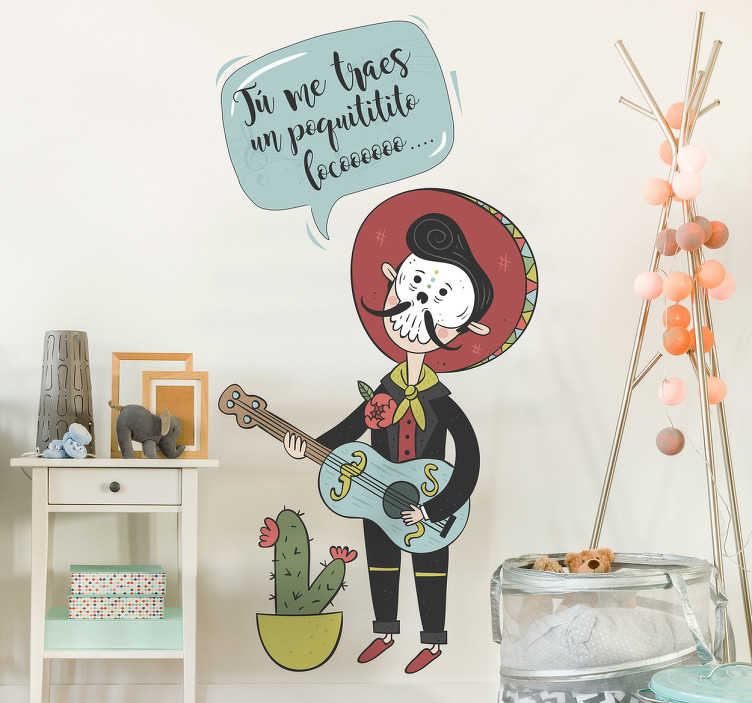 TenVinilo. Vinilo infantil mariachi. Vinilo decorativo infantil con el dibujo de un cantante mexicano disfrazado con una máscara del Día de Muertos.