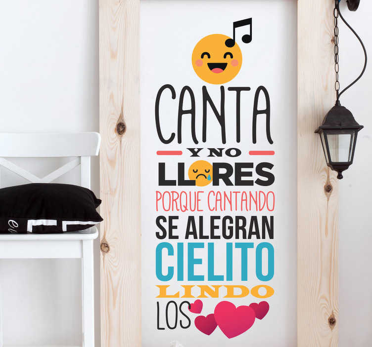 TenStickers. Cielito lindo lyric wall sticker. Cielito lindo song lyric wall sticker created with music symbol, hearts and text . It can be purchsed in any desires size.