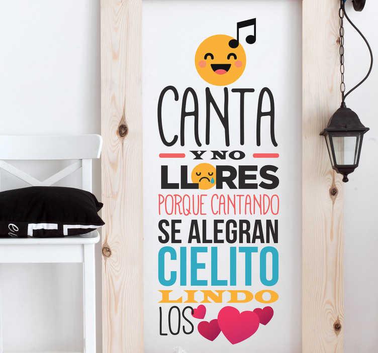 TenVinilo. Vinilo letra canción cielito lindo. Vinilos de música con una de las canciones mexicanas más reconocidas del mundo, con un diseño original, colorido y divertido.