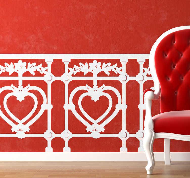 TenStickers. Autocolante de parede com corações. Apresentamos o nosso mural de parede com corações geometricamente iguais. Ideal para colocar na sua sala e dar um novo toque amoroso à casa.