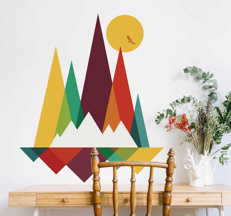 TenStickers. Sticker mural montagne géométrique. Sticker géométrique et coloré représentant des montagnes sous formes de triangles plus ou moins étirés de différentes couleurs. Un autocollant coloré qui apportera beacoup de charme à votre intérieur, et qui plaira aux passionnés d'art et de montagne!