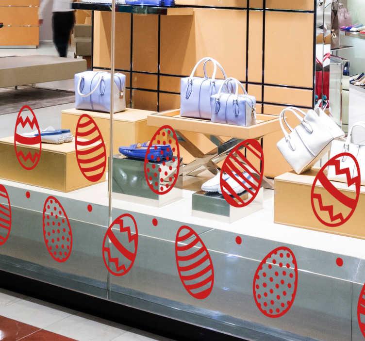 TenStickers. Schaufensteraufkleber Ostereier. Toller Schaufensteraufkleber mit Ostereiern. Individuell gestaltbar mit Farbe und Größe.