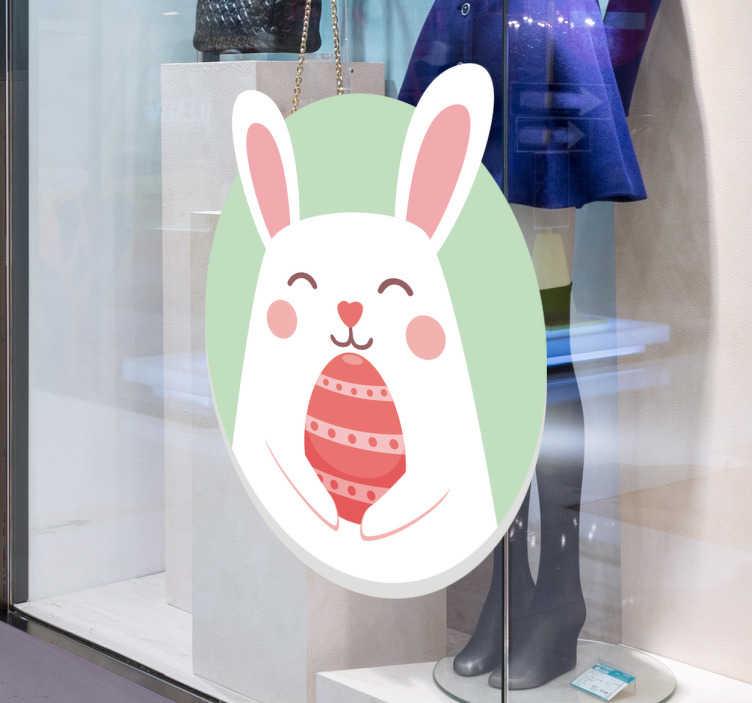 TenStickers. Autocolante para vidros do coelho Páscoa. Autocolante decorativo de animais em formato de coelho de Páscoa, ideal para a decoração de interiores e para a decoração de montras.