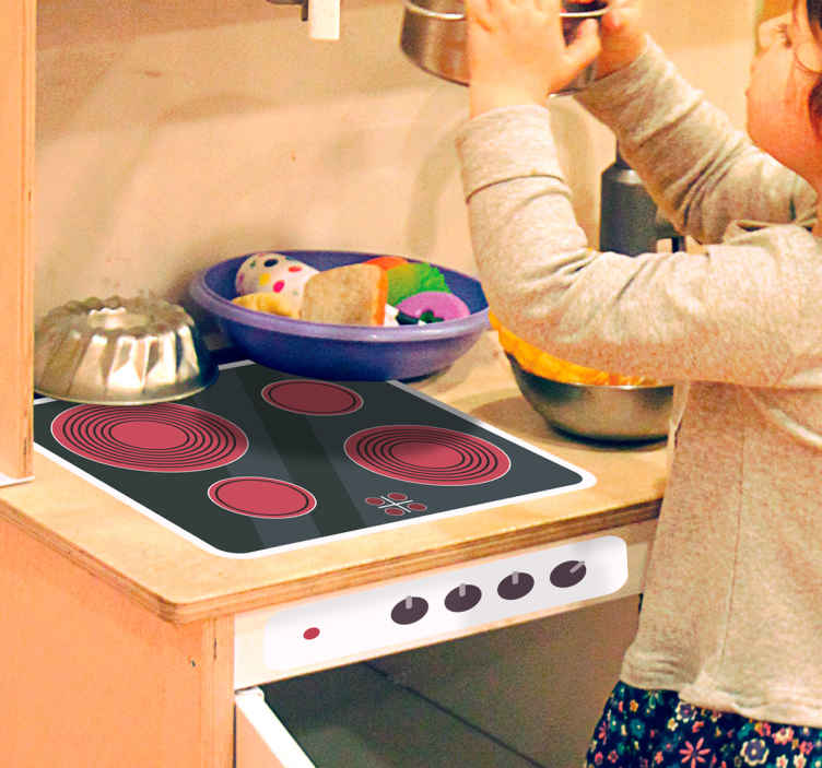 TenStickers. Aufkleber Herd Kinderküche. Tolle Aufkleber eines Herdes für die Kinderküche. Macht das Spielen Ihrer Kinder authentischer.
