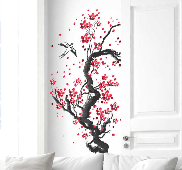 TenStickers. Cherry blossom tree wall decal. A self adhesive tree colorful plant wall art decal with flying bird. A lovely home decoration and it can be purchased in any size required.