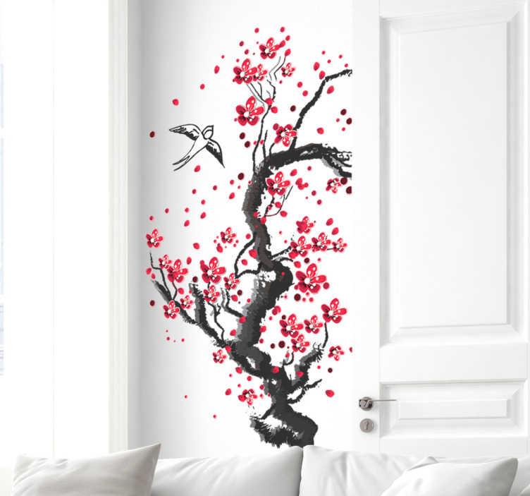 TenStickers. Autocolante de parede de árvore. Decore a sua sala com este autocolante de parede, ilustrando uma árvore com flores vermelhas a nascer e dois pássaros a sobrevoá-la.