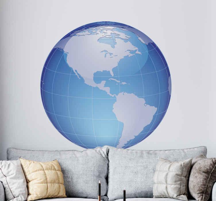 TenStickers. Sticker bol wereld turquoise Amerika. Voor de grote fans van het werelddeel Amerika! Je ziet hier namelijk een turquoise wereld bol met Amerika!