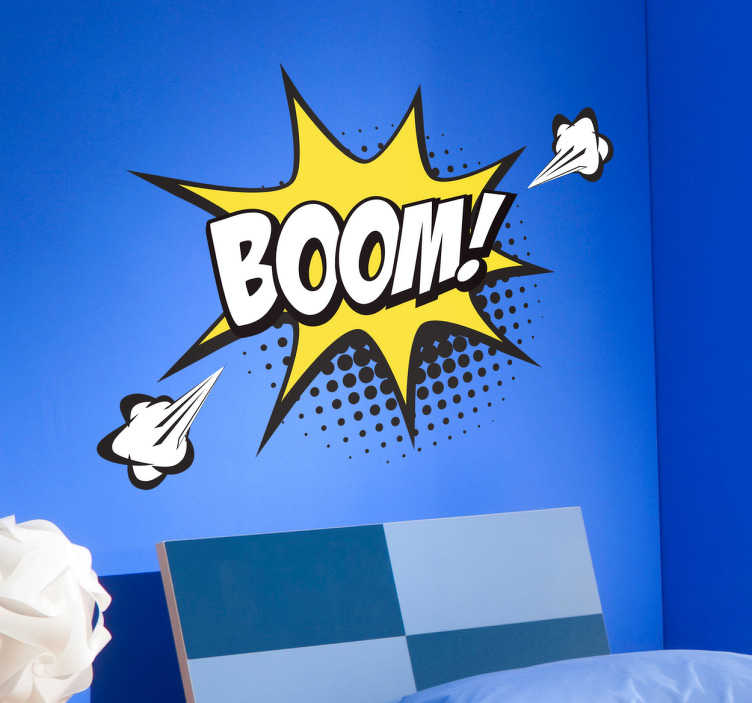 TenStickers. Adesivo decorativo pop art Boom. Tenstickers presenta una serie di stickers in fumettistica pop art per decorare in stile moderno la tua casa, come questo sticker onomatopeico Boom