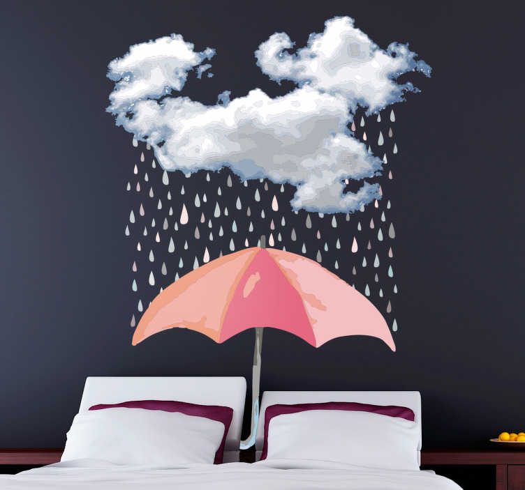 TenStickers. Umbrella and cloud headboard wall sticker. Decorative headboard wall sticker with an umbrella, rain drops and cloud design. A cozy design for a home and it is available in any size required.