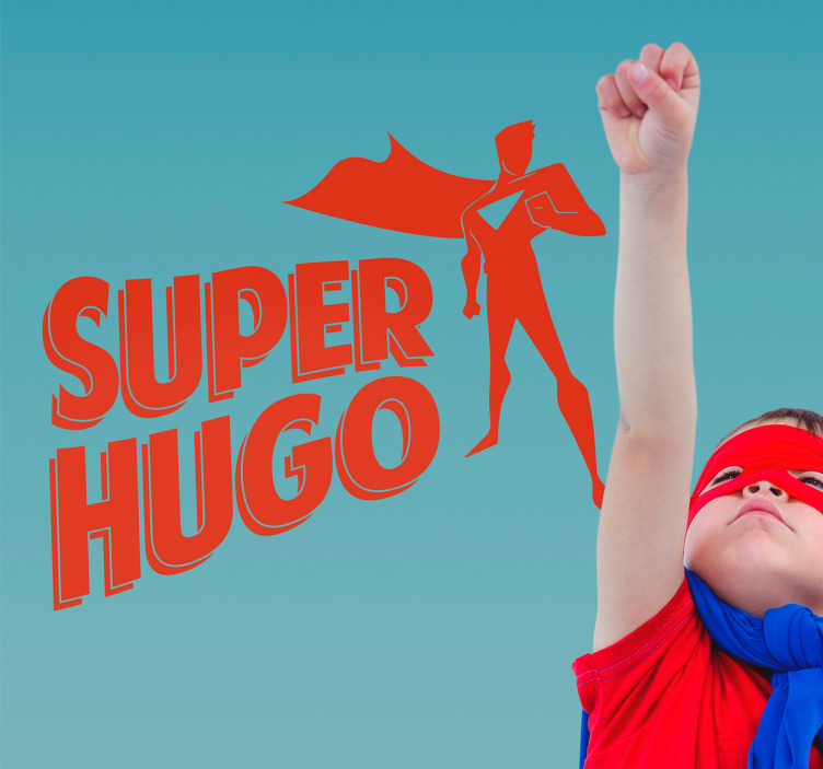 TenStickers. Wandtattoo Superheld personalisierbar. Cooles Wandtattoo für das Kinderzimmer mit Superheld Motiv, was mit Namen personalisiert werden.