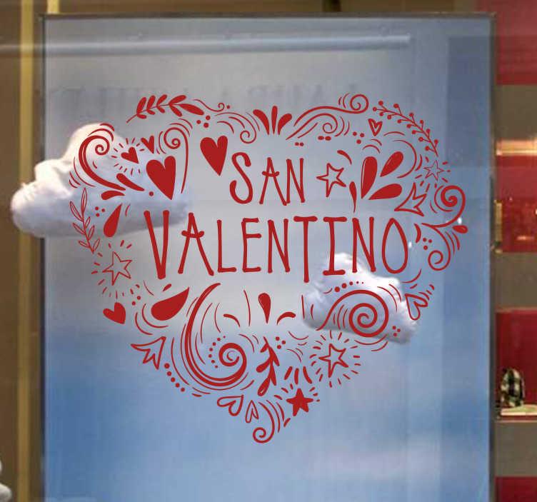 TenStickers. adesivo regalo San Valentino. Cuore adesivo per San Valentino da applicare alle vetrine dei negozi o delle aziende