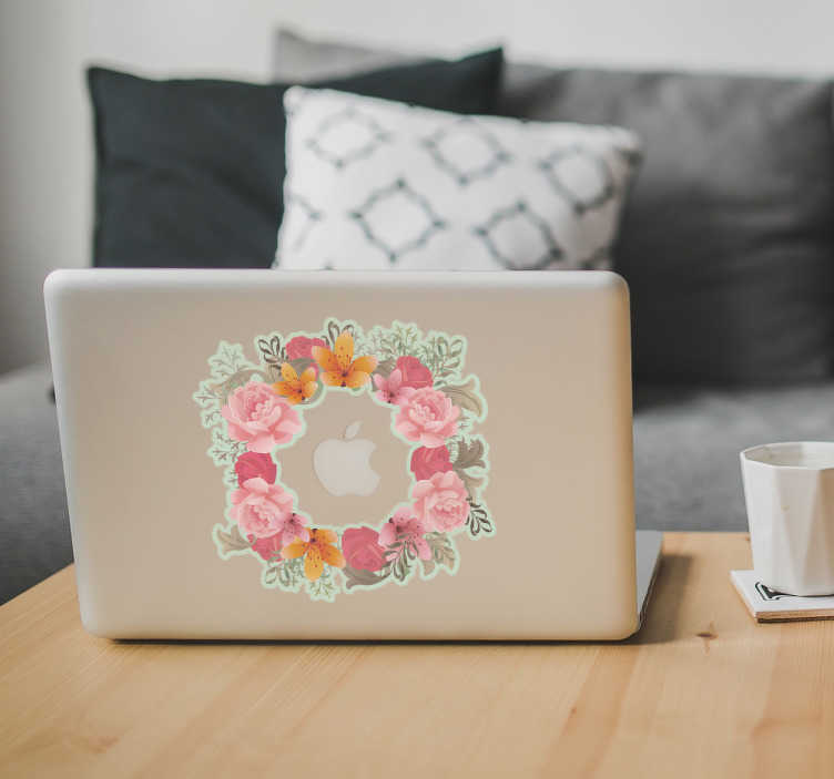 TenStickers. Flowers Macbook laptop skin decal. Flowers Macbook laptop decal to decorate a laptop. It is easy to apply and available in any required size. Self adhesive and durable.