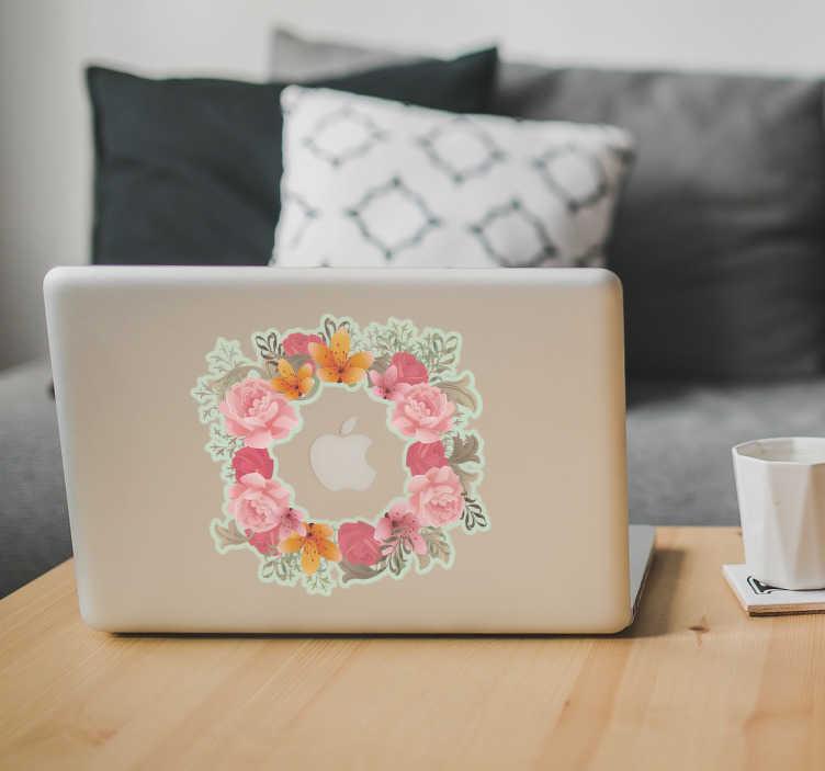 TenStickers. Adesivo Macbook Fiori. Tenstickers propone nella categoria di cover adesive per laptop questa ghirlanda adesiva per Mac
