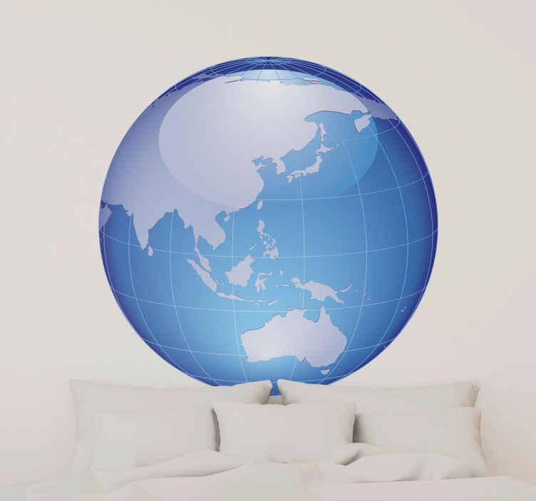 TenStickers. Naklejka Azja i Oceania. Naklejka dekoracyjna przedstawiająca kulę ziemską z widokiem na Azję i Oceanię.