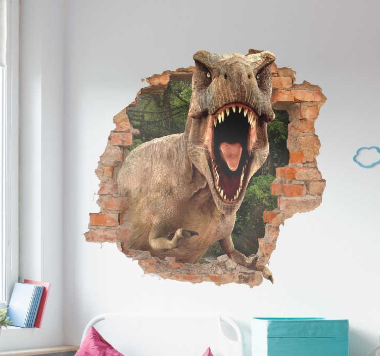 TenStickers. Naklejka na ścianę T-rex 3D. Naklejka dla dzieci, imitująca dziurę w ścianie przez którą zagląda T-Rex! Jeżeli Twoje dziecko uwielbia dinozaury, ta naklejka będzie idealnym prezentem! Wyprzedaż się kończy – nie czekaj, zamów taniej teraz!