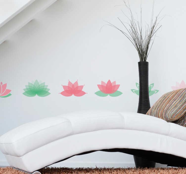 TenStickers. Sierrand lotus bloemen rand. Decoreer de kamer met dit fleurige design. Deze sierrand bestaat uit verschillende soorten lotus bloemen in verschillende kleuren groen en roze.