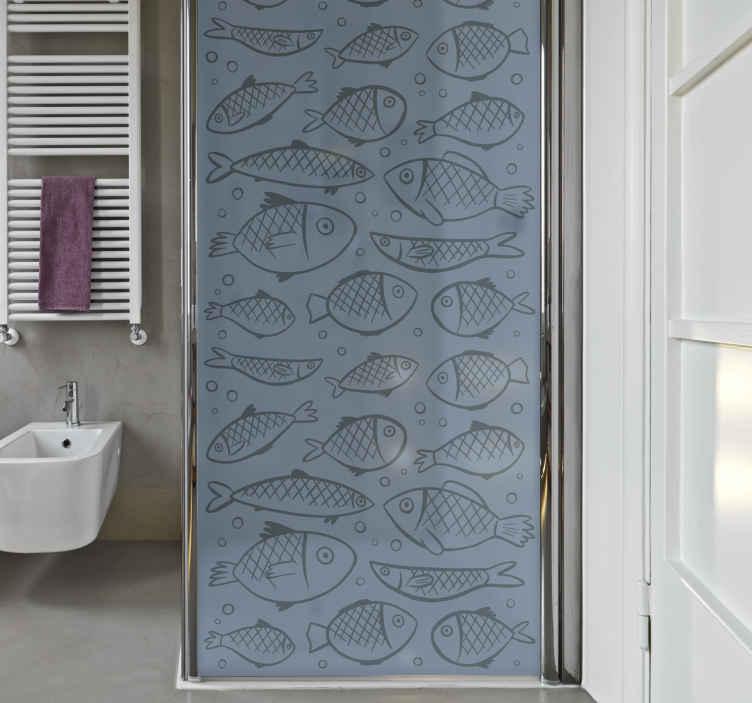 TenStickers. Douchedeur sticker vissen. Decoreer de douchecabine met deze leuke badkamer sticker. Het ontwerp omvat verschillende vissen en is aanpasbaar in formaat. +10.000 tevreden klanten.