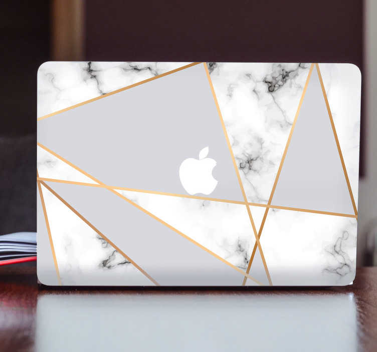 TenStickers. Macbook adhesive marble. Decorate your Macbook with this original and geometrical marble design. The adhesive has different triangles with a marble pattern that will make it look like your laptop is made out of marble.
