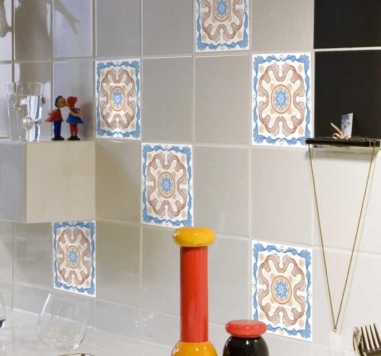 TenVinilo. Adhesivo azulejo filigranas. Vinilos para pared, para baldosas de baños o especialmente para cocinas con u n motivo de inspiración floral estilo vintage.