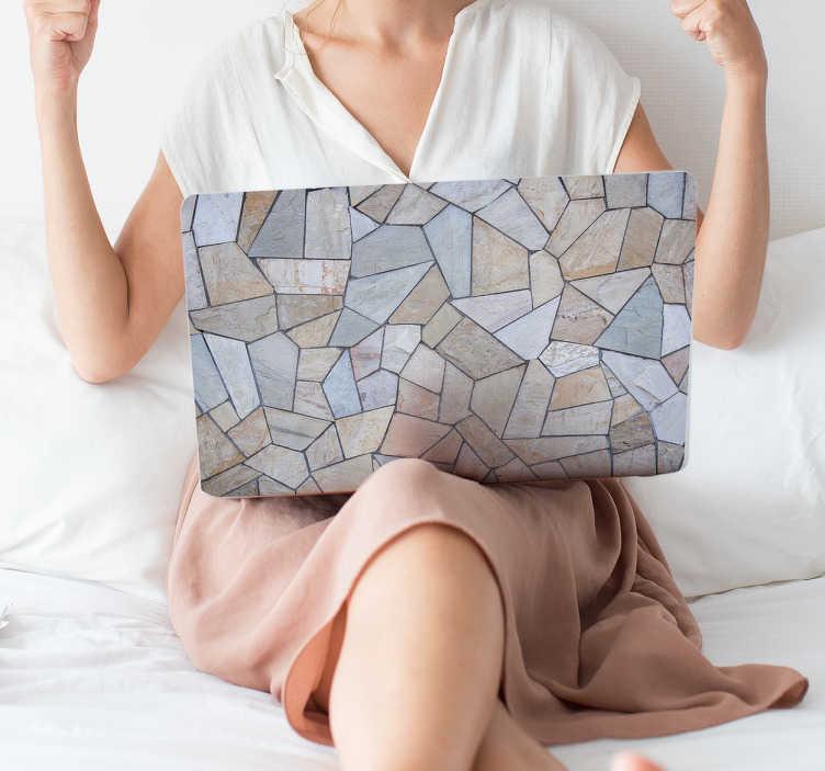 TenVinilo. Adhesivo portátil textura mármol. Cubre la tapa de ordenador personal con un vinilo autoadhesivo de gran calidad que recrea una textura de pared de piedra.