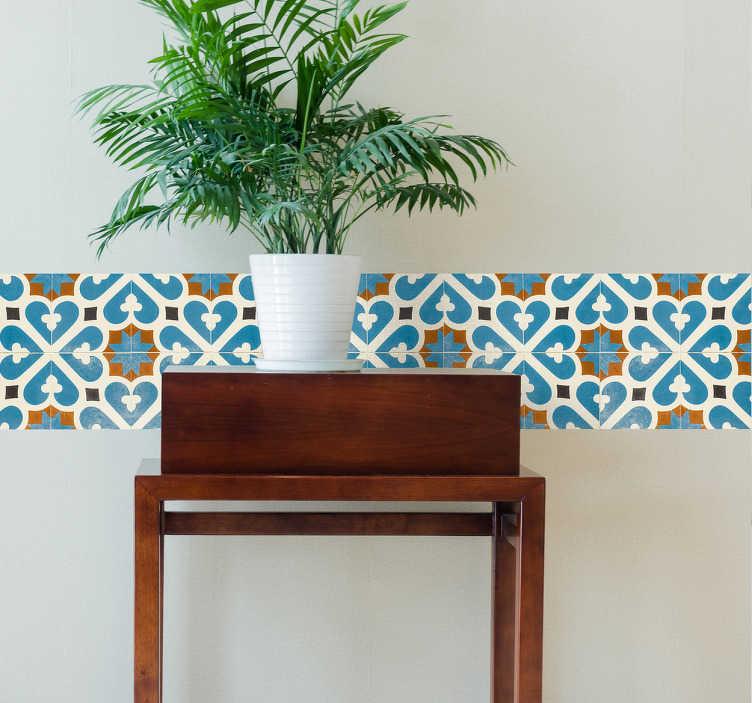 TenVinilo. Cenefas adhesivas azulejo trébol. Cenefas pared con un dibujo ornamental simétrico de inspiración vegetal, impreso en vivos colores y disponible en el tamaño que requieras.