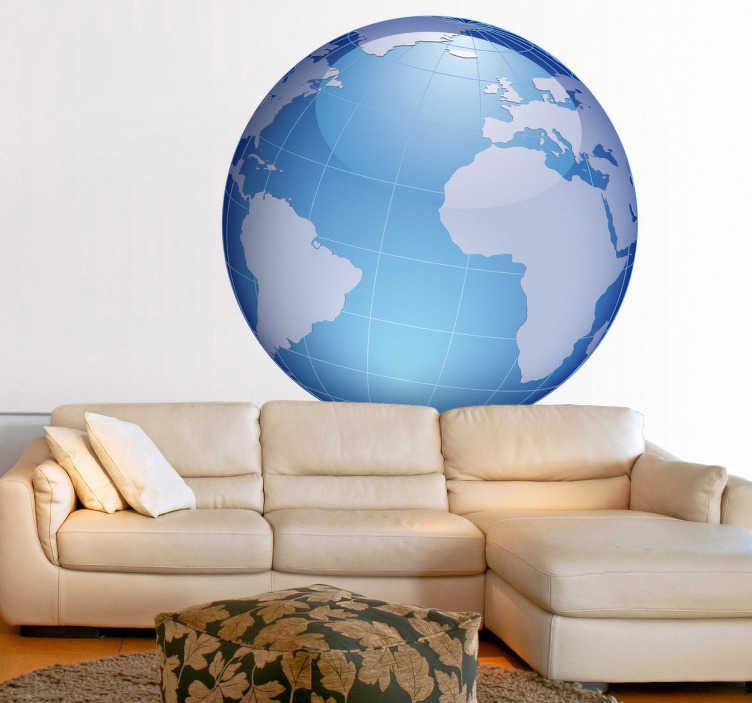 TenStickers. mapa mundo azul Oceano Atlântico. Apresentamos este adesivo mapa mundo com destaque no oceano atlântico, porque afinal de contas é este o oceano que rodeio o nosso Portugal.