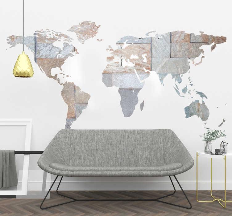 TenVinilo. Vinilo mapamundi efecto mármol. Mapa mundi en vinilo mural rellenado con una textura tipo pared de piedra, perfecto para tu salón o dormitorio.
