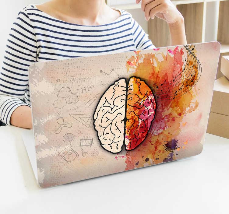 TenStickers. Cervello adesivo portatile artistico. Dai al tuo laptop una decorazione originale con questo adesivo per laptop con un cervello artistico. Questo adesivo non è fatto per tutti, solo per le persone che sono interessate alla medicazione o al corpo umano.