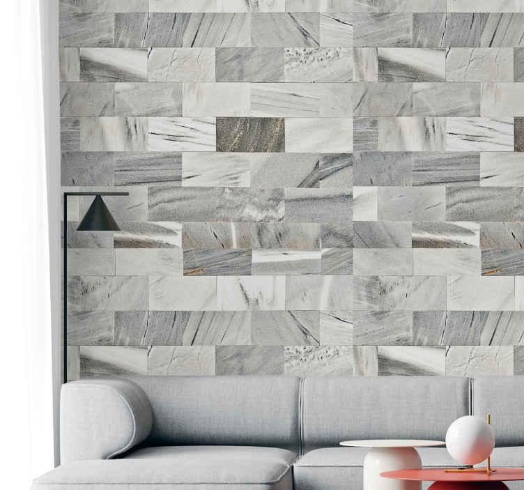 TenStickers. Naklejka na ścianę szary marmur. Naklejka na ścianę, przedstawiająca elegancki wzór szarego marmuru. Dodaj nowoczesny akcent do swojego mieszkania! Dzięki tej naklejce w prosty i tani sposób odmienisz wygląd domu! Produkt może być dostosowany do Twoich potrzeb!