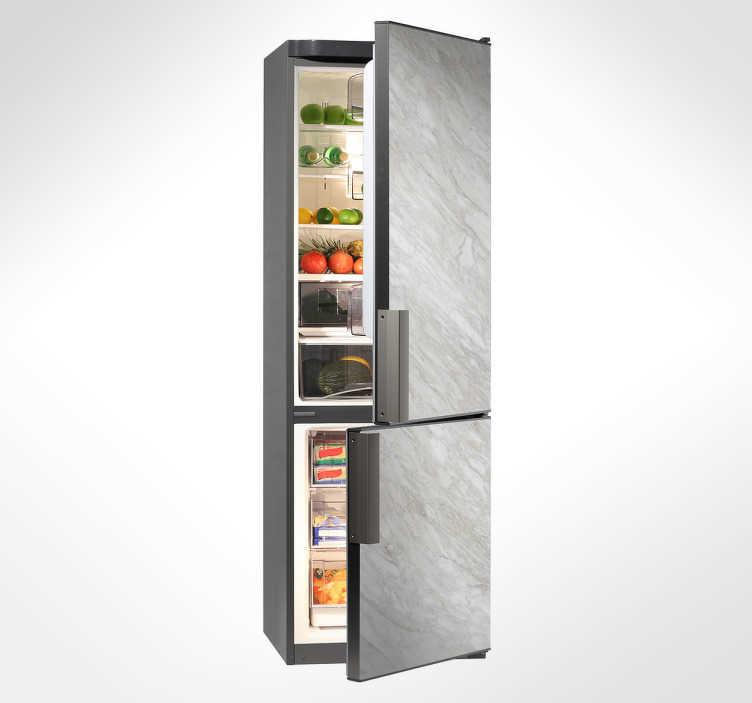 TenVinilo. Vinilo para nevera efecto mármol. Decora tu frigorífico con vinilos originales en este caso con una textura de piedra o mármol en tonos grises.