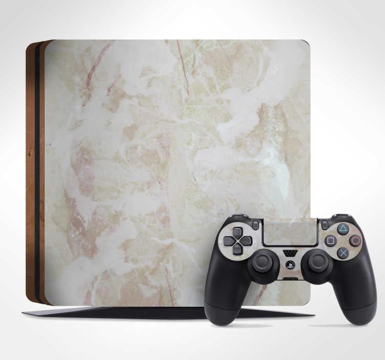 TenStickers. Naklejka na PS4 tektura marmur. Naklejka na PS4, przedstawiająca elegancki wzór marmuru w jasnych kolorach. Ta delikatna naklejka w prosty i tani sposób odmieni Twoje PlayStation! Ceny już od 8,75 zł!
