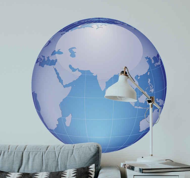 TenStickers. Autocollant mural carte ocean indien. Stickers mural représentant une carte du monde bleue axée sur l'Océan Indien.Idée déco pour la chambre à coucher ou le salon.