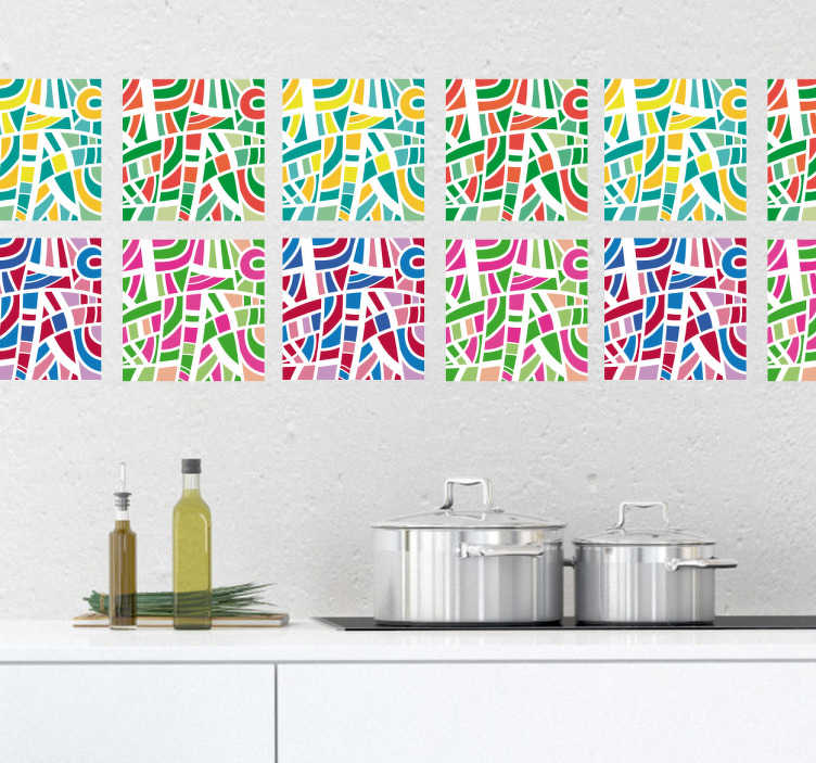 TenStickers. Multicolored tiles Abstract sticker. Decorative abstract tile decal for a bathroom or kitchen space with tiles. It is designed  with multicolored geometric shapes.