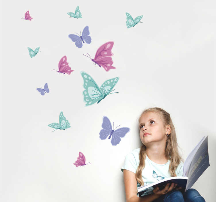 Autocolante de parede infantil borboletas