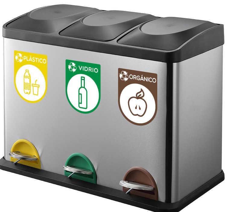 TenVinilo. Pegatinas reciclaje contenedores. Adhesivos para cubos de basura con una representación iconográfica de lectura universal de distintos tipos de reciclado.