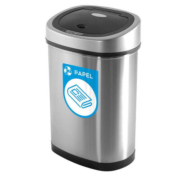 TenVinilo. Pegatinas reciclaje papel. Adhesivo con una representación iconográfica para cubos de basura destinados especialmente al reciclado de cartón y papel.