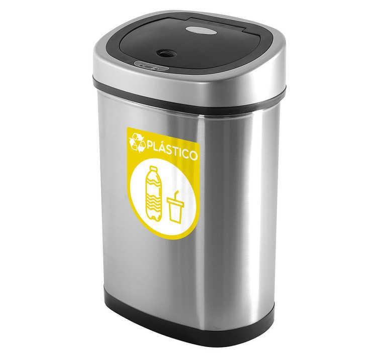 TenVinilo. Pegatinas reciclaje plástico. Vinilo con una representación iconográfica para cubos de basura destinados especialmente al reciclado de envases y plásticos.