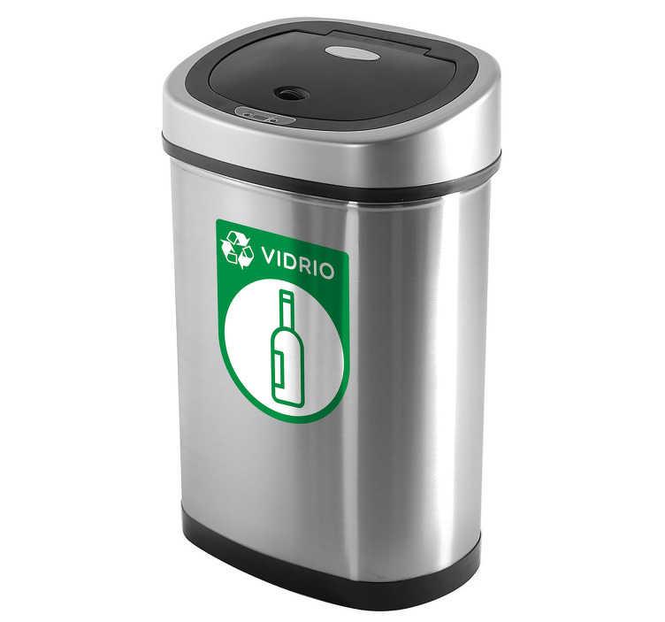 TenVinilo. Pegatinas reciclaje vidrio. Adhesivo con una representación iconográfica para cubos de basura destinados especialmente al reciclado de envases de cristal.